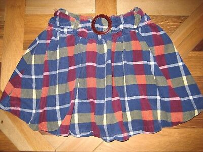 Lands End Girls Size 7 Plaid Corduroy Skirt With Shorts and Adjustable Waist