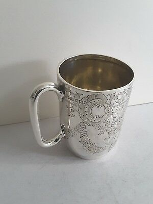 Attractive Antique Solid Silver Hand Engraved Mug.  215Gms.   Sheffield 1899.