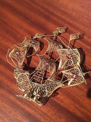 Vintage Souvenir Portugal Filigree Golden Ship on its base