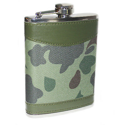 8oz Hip Flask Stainless Steel Camouflage Leather Design Commando Army Soldier UK