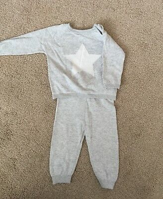 M&S Autograph Baby Boy/Girl Knitted Top and Bottoms Set Romper Age 6-9 Months