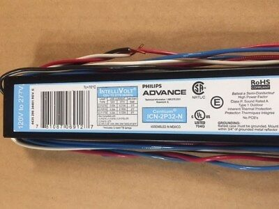 ADVANCE ICN-2P32-N ELECTRONIC FLUORESCENT BALLAST, 2 LAMP, 32W T8, 120/277V New