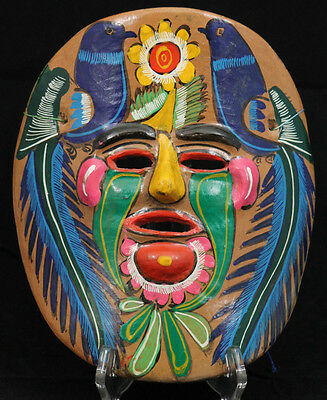 Vintage Mexican Ceramic Hanging Mask Folk Art Hand Formed/Painted  Yellow/Biue