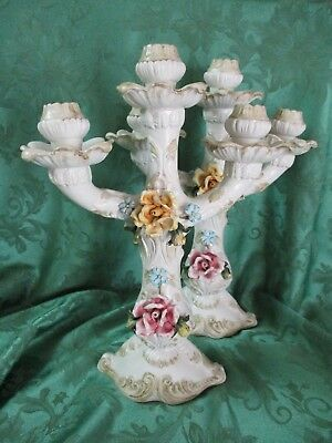Pair of Vintage Capodimonte Porcelain Candelabras 3 Candle Floral Italy
