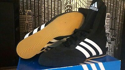 boxing boots adidas size 6 black and white boxed