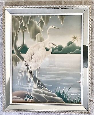 "Vintage 1940s Large Turner ""Egrets"" Original Lithograph MCM Mirrored Frame"