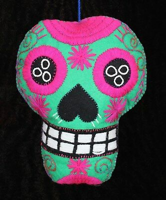 Felt Sugar Skull Large Hand Embroidered Day of the Dead Pillow Mexico Folk Art