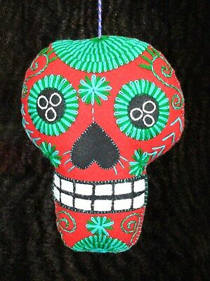 Lg Red Felt Sugar Skull Hand Embroidered Day of the Dead Pillow Mexico Folk Art