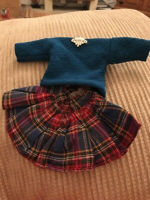 Red Tartan Skirt And Blue Top To Fit Sindy/Barbie Or Similar Doll