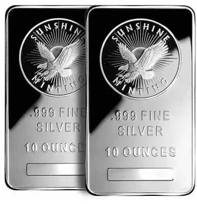 TWO (2) 10 oz. Sunshine Mint .999 Fine Silver Bars Sealed Read Desc.
