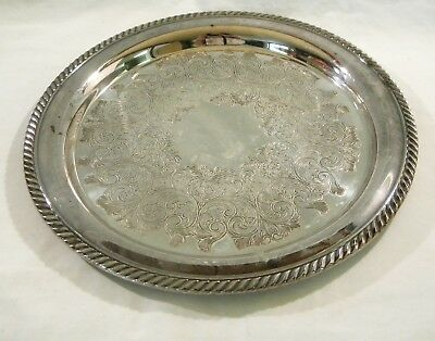 """Vintage Wm A Rogers 12"""" Etched Round Silver plate Serving Tray"""