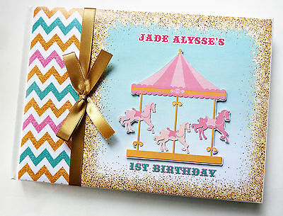 Carousel Girls /first/1St Birthday Guest Book - Any Design