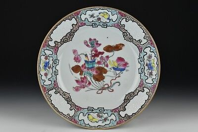 18th Century Chinese Export Porcelain Plate w/ Ruby Enamel Flowers & Butterflies