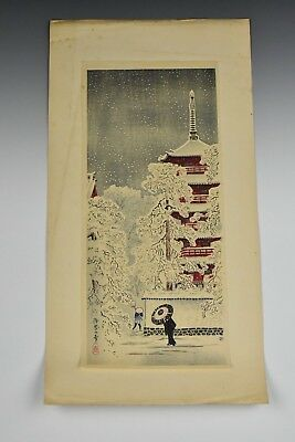 Early Japanese Woodblock Print Winter Scene Signed