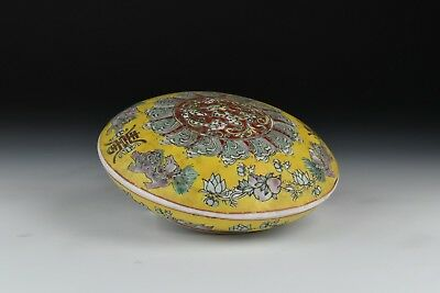 20th Century Famille Jaune Covered Box w/ Animals & Peaches