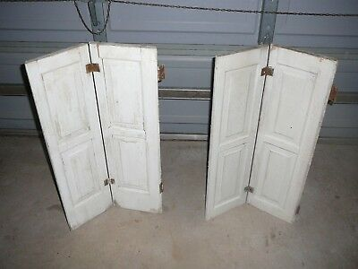 "Nice! 2 ORNATE Raised Panel Antique Window Shutters 28 to 56"" H. Old White Paint"