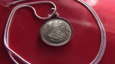"early 80's Syrian Pound Coin Pendant on a 24"" 18k White Gold Filled Snake Chain"