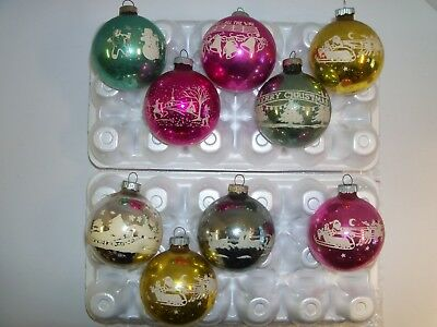 Vintage Lot Of 9 Shiny Brite Stenciled Scenic Christmas Tree Ornaments