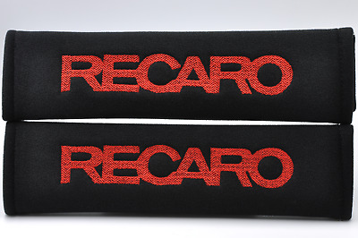 Red on Black Embroidery Soft Seat Belt Cover Shoulder Pad Pair Recaro Logo