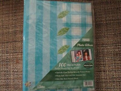 "Photo Album Leaves With Interleaves Blue Cover 100 -6X4"" Pic               5451!"