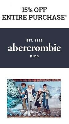 abercrombie kids - 15% OFF ENTIRE PURCHASE CPN CODE - EXP 11/19**DLVRD W/IN 1 HR