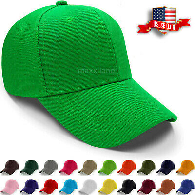 ee5d7c7b3 Baseball Caps Plain Loop Adjustable Solid Color Hat Polo Style Mens Womens