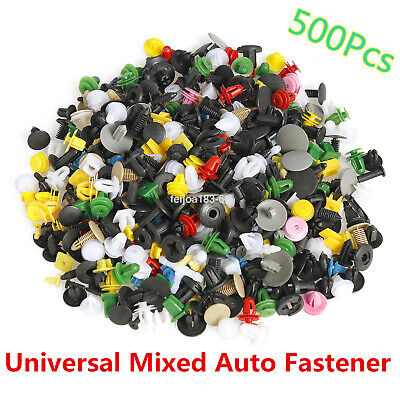 500pc Plastic Car Rivet Bumper Fender Retainer Fastener Mud Flaps Push Clips Pin