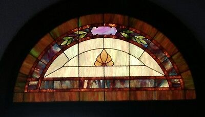 "Antique Stained Glass Window pane 6 feet handmade arch double door 33"" high 1880"