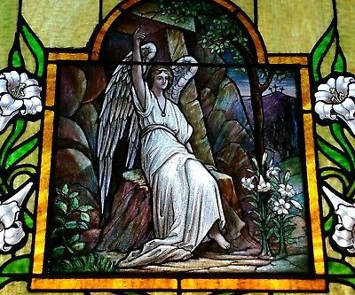 Antique Stained Glass Window 5x9 feet hand painted 1880's angels Jesus flowers