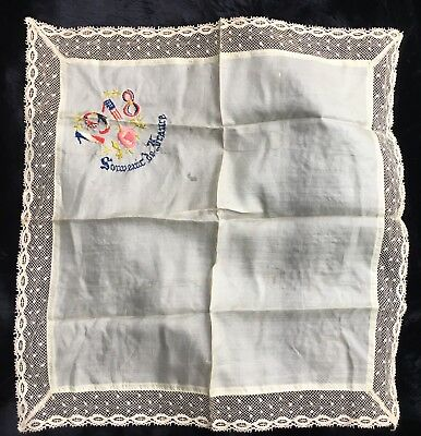 Hand Embroidered 1918 French Dupioni Silk with Bobbin Lace Trim Handkerchief