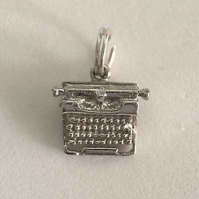 Old Fashion Antique Typewriter Rhodium Plated VINTAGE .925 Sterling Silver Charm