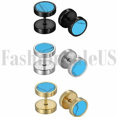 2pcs Mens Ladies Barbell Dumbell Stud Earrings Stainless Steel Screw Back 10mm