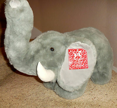 Vintage FAO Schwarz Big Elephant Plush Stuffed Animal Toy Excellent Condition
