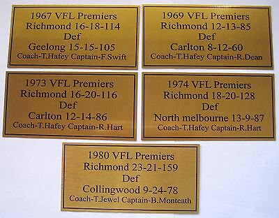 RICHMOND Premiers  Gold  Plaques 1967-69-73-74-80 all five one price F/Post