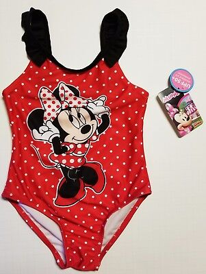 Disney Minnie Mouse Toddler Girl One piece Polka Dot Swimsuit Red SIZE 4T NEW