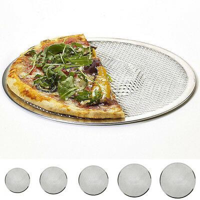 "Pizza Stone 6""12""14"" Seamless Rim Aluminium Pizza Mesh Screen Baking Tray Making"