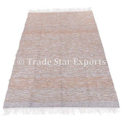 Indian Runner Yoga Mat Decorative Reversible 4X6 Large Area Golden Rag Rug