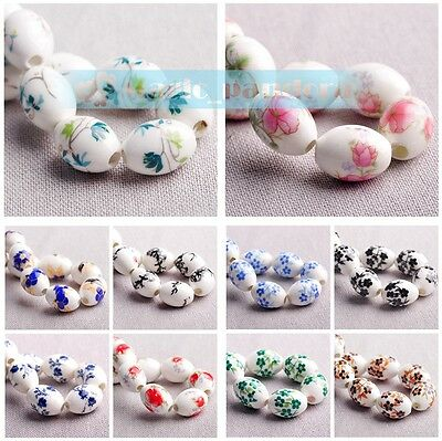 Charms 10/100pcs Flowers Pattern Ceramic Porcelain Loose Spacer Colorized Beads