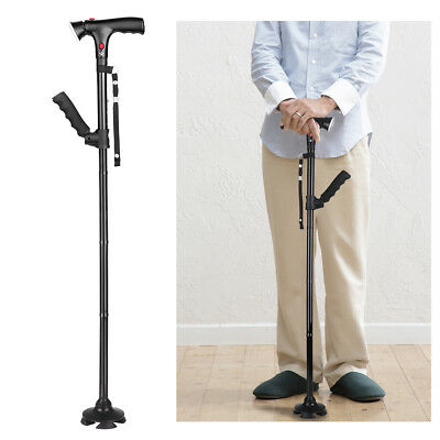 Telescopic Fold Walking Stick Cane Light Adjustable Height Lightweight 4 Heads