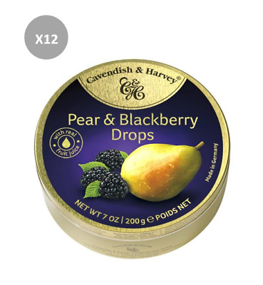 907621 6 x 200g CAVENDISH AND HARVEY PEAR AND BLACKBERRY DROPS TIN! MADE IN AUS