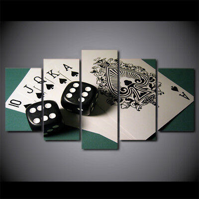 5 Panel Game Dice Poker Poster Wall Art Painting Picture Canvas Home Decor
