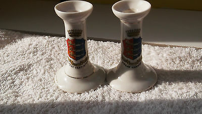 Two Small Candlesticks   Crested Great Yarmouth  No Maker