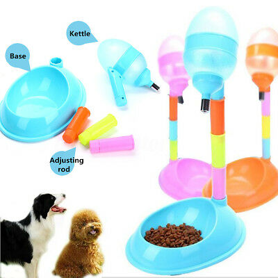 Pet Dog Puppy Cat Automatic Water + Food Dispenser Fountain Stand Dish Feeder