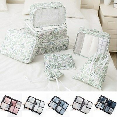 8PCS/Set Travel Luggage Organizer Backpack Storage Pouches Suitcase Packing Bags