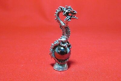 Pewter  Dragon  Figurine With Glass Orb