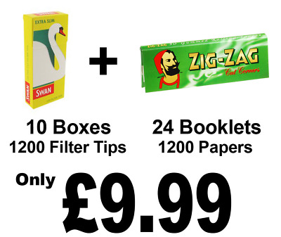 1200 ZigZag Green Cigarette Rolling Papers and 1200 Swan Extra Slim Filter Tips