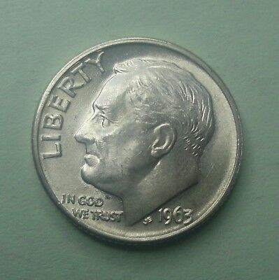 1) 1963 D Roosevelt Dime BU Uncirculated 90% Silver US Coin TUCK  Original Roll