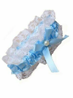 Blue ribbon and lace garter with pearl and bow