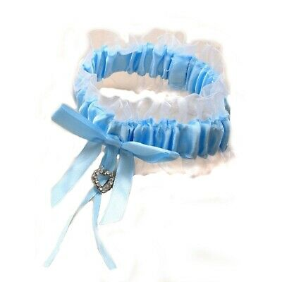 Blue satin ribbon with white net garter with glass crystal heart