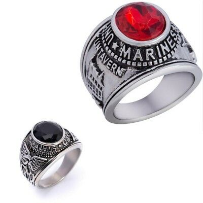 Bague Chevaliere Homme Us Army Marines Usa Pierre Noire Onyx Saphir Rubis Swag